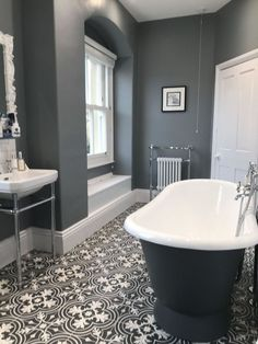 Tiles are something that can make or break a Victorian bathroom design. Opt for … Tiles are something that can make or break a Victorian bathroom design. Opt for stunning patterned floor tiles to replicate the period look. Victorian Bathroom, Vintage Bathrooms, Modern Bathroom, Small Bathroom, Master Bathroom, Bathroom Grey, Minimalist Bathroom, Bathroom Colors, Bathroom Closet