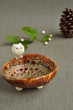 Ceramic Owl Bowl from Lee Wolfe Pottery — in Green Tea or Brown glaze