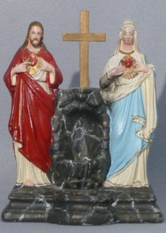 SOLD! Rare vintage chalkware Jesus & Mary Sacred Heart Shrine with Holy Water Font and Votive Candle holder.