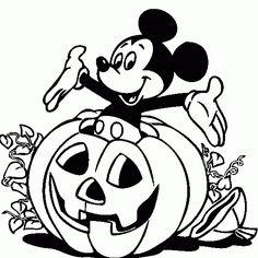 Mickey Mousse con calabaza de Halloween