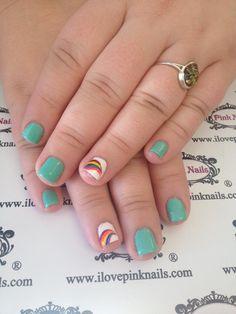 Mint Rainbow Nails