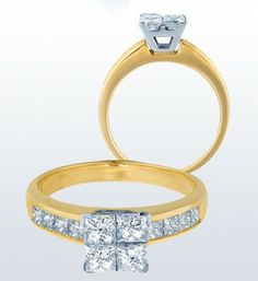 Quad Princess Cut Engagement Ring in yellow gold