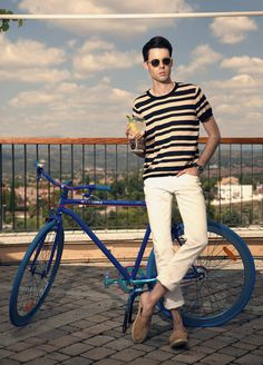 Nail off-duty dressing with this combination of a tan horizontal striped crew-neck tee and beige jeans. For footwear go down the classic route with brown suede slip-on sneakers.  Shop this look for $149:  http://lookastic.com/men/looks/beige-jeans-and-tan-crew-neck-t-shirt-and-brown-slip-on-sneakers-and-tan-sunglasses/3203  — Beige Jeans  — Tan Horizontal Striped Crew-neck T-shirt  — Brown Suede Slip-on Sneakers  — Tan Sunglasses
