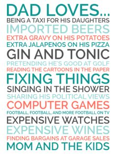 Personalized Dad Gift - Poster of Things Your Dad Likes
