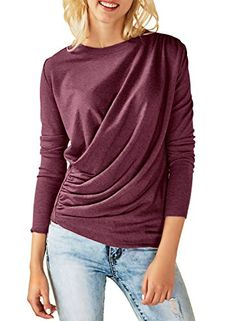 7a76863dfe Dokotoo Womens Elegant Amazon Cotton Ladies Crewneck Casual Long Sleeve  Ruched Tunic Blouse and Shirts Under