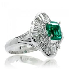 http://rubies.work/0163-ruby-rings/ Emerald ring baguette ballerina halo design platinum band