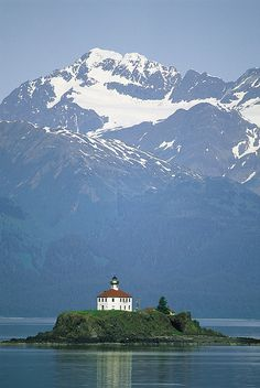 The Chilkat Range looms above the Eldred Rock Lighthouse - Alaska