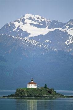 The Chilkat Range looms above the Eldred Rock Lighthouse - Alaska