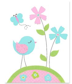 Bird Nursery Art Girl's Room Decor Aqua by SweetPeaNurseryArt
