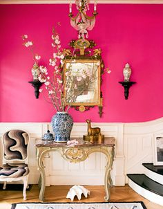 Jonathan Berger Interiors, bright pink, decor, decorate, entrance, entrance hall, entry, entryway, entry way, foyer, front hall, front door, hall, hallway, home, interior design, interiors, magenta, modern, mudroom, mud room, parquet, pink, stairwell, staircase, stair runner, stairs, stair hall