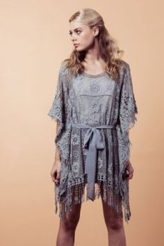 Michi's Boutique - $76.00    Two Toned lace overlay top with fringe in Dusty Blue.    (High Point Shoulder to Bottom): 31.5 inches     (2)S/M, (1)M/L