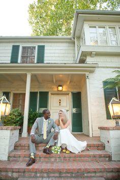 Wedding stoop sitting