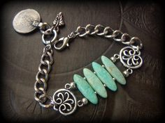 Chunky Chain Bracelet Coin Amazonite Kuchi Banjara by YuccaBloom