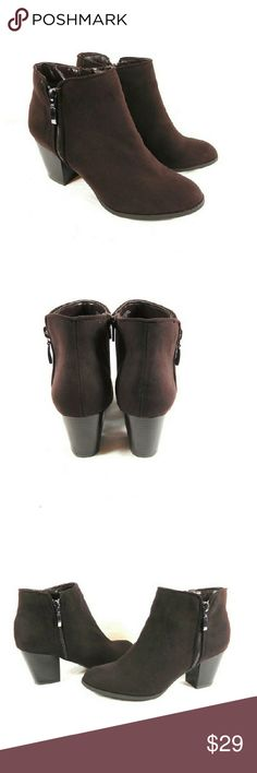 """Style & Co Jamila Oak Brown Zip Booties Thanks for checking out my closet. I take all my own pics. The boots are authentic and new in box. Boots have man made upper with 3"""" heel. Style & Co Shoes Ankle Boots & Booties"""