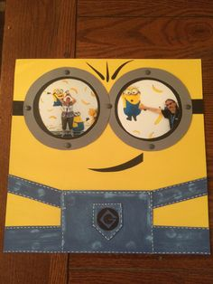 Minion Scrapbooking. Universal Studios page. Distressed denim paper with underlying glue dots for rivet effect. Hand cut circles - brads for goggle rivets.