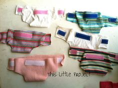 Baby doll diapers from old tee shirts and velcro