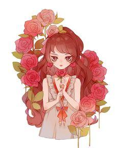 New Flowers Girl Red Ideas Chibi Kawaii, Loli Kawaii, Cute Chibi, Kawaii Art, Anime Chibi, Manga Anime, Anime Girl Cute, Beautiful Anime Girl, Anime Art Girl
