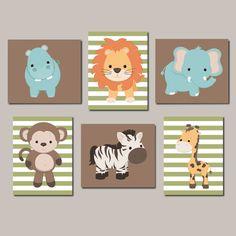 Zoo Animal Nursery Art Jungle Animals Nursery Wall Art Boy Nursery Artwork Animal Nursery Prints Vintage Animal Set of 6 Prints Or Canvas by LovelyFaceDesigns on Etsy