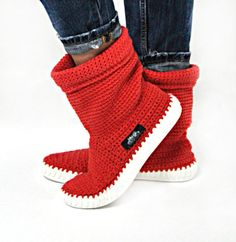Botas Crochet Botas de punto para calle adultos al aire libre