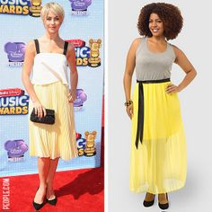 Try Julianne Hough's yellow look with the Eloquii Pleated Maxi Dress from #gwynniebee