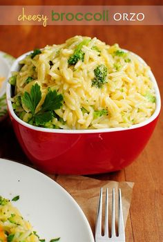 Cheesy broccoli orzo.