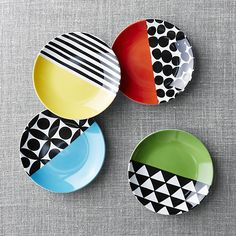 Shop Set of 4 Geo Dot Appetizer Plates. Colorful appetizer plates play halfsies with solid color and fun geometric patterns. The set of four porcelain plates pairs up green, coral, yellow and blue with diamonds, dots, stripes and lattice patterns. Painted Ceramic Plates, Clay Plates, Hand Painted Ceramics, Ceramic Painting, Ceramic Pottery, Pottery Art, Ceramic Art, Pottery Painting Designs, Paint Designs