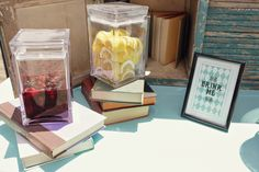 "Alice in Wonderland Themed Wedding - Wonderland Inspired ""Drink Me"" Sign on Drink Table with Book Decor - Outdoor Weddings  RSVP: The RiverRoom Blog"