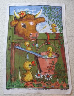 """Well-Well, Fancy That"" Irish linen tea towel by Lamont."