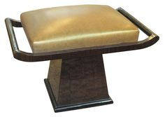 Art Deco Ottoman or Pouf in Leather