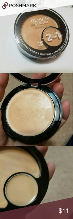 Revlon colorstay compact  foundation Shade buff130. Been used only once for swatch with new brush. Concealer has not been used . Revlon Makeup Foundation