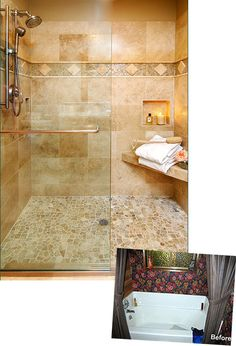 Travertine tile bathroom counters | features granite tile countertops, an undermount sink, travertine tile ...