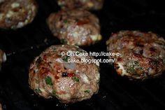 Greek style lamb burgers with feta and onions.
