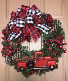 50 Best Christmas Door Decorations for 2019 🎄 - The Trending House Christmas Red Truck, Plaid Christmas, Christmas Crafts, Christmas Ornaments, Christmas Christmas, Christmas Recipes, Christmas Nails, Christmas Cookies, Farmhouse Christmas Decor