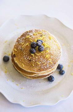 Healthy Vegan Blueberry Lemon Buttermilk Pancakes that are sugar-free!