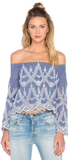 $97 KENDALL + KYLIE Eyelet Off Shoulder Blouse 100% cotton Hand wash cold Front button closures Elasticized shoulders Eyelet cut-outs. #Affiliate