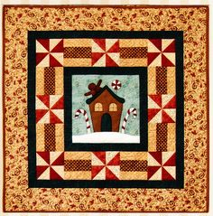 Gingerbread House Quilt  - quick and easy Christmas applique & pieced quilt PATTERN - The Birdhouse