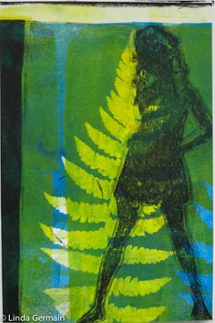 Gelli Plate to the Rescue - ICAD gelatin print with golden open acrylics and an index card by linda germain