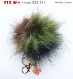 NEW! Faux Fox Fur Pom Pom bag Keyring Hot Couture Novelty keychain pom pom fake fur puff keyring