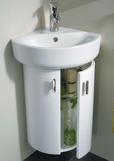 A corner bathroom vanity is very stylish yet compact. The corner bathroom vanity is a new and great way to create not only more floor space in a small bathroom. Small Sink, Small Vanity, Pink Vanity, White Vanity, White Sink, White Mirror, Small Laundry, Bathroom Interior, Modern Bathroom