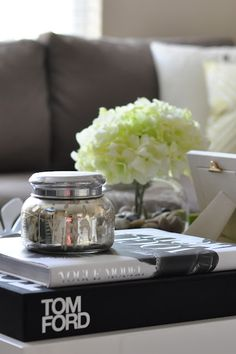 faux orchids // coffee table styling // black tray & vase