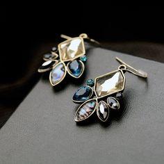Fashion Statement Irregular Geometric Antique Flowers Drop Earrings - Blue Green   Jewelry & Watches, Fashion Jewelry, Earrings   eBay!