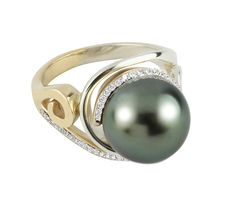 Ring in 14k yellow gold and palladium silver with a 12 mm Tahitian pearl and 0.27 ct. t.w. diamonds, $6,000; Martha Seely
