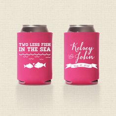 Two Less Fish in the Sea Wedding Koozies Design 2 - Wedding Favor - Pick Your Quantity