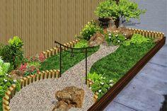 jardín patio fachada estilo chino con mampara bambu foto 2