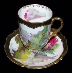 Vintage O & E G Austria Signed Demitasse Cup and Saucer