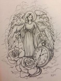 Guardian angel tattoo design, commission by Jeffica Alice. #ILoveTattoos!