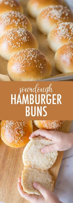 These fluffy golden Sourdough Hamburger Buns will bring your burger night to the next level! Start the dough in the morning and buns are ready by dinner. Sourdough Hamburger Buns Recipe, Sourdough Starter Discard Recipe, Sourdough Recipes, Sourdough Bread, Vegan Hamburger Buns, Sourdough Dinner Rolls, Hamburger Recipes, Naan, Homemade Hamburgers