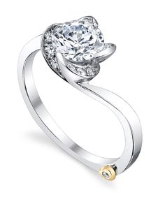 """Rose Engagement Ring - Mark Schneider Design - """"A flower cannot blossom without sunshine, and man cannot live without love."""" - Max Muller - Contains 13 diamonds, totaling 0.145ctw.  Item #17255.    14K Gold $2,000. 8K Gold $2,306. Platinum $3,113"""