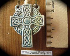 Celtic Cross Necklace Ceramic Raku Bottle by CosmicFirefly on Etsy