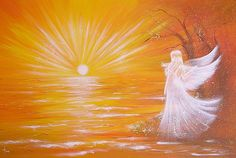 "Limited angel art poster ""touched by light""  - modern contemporary angel painting, artwork, print, glossy photo,"